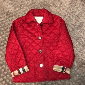 Girls new without tag red Nova Burberry jacket 5